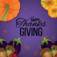 carte de voeux joyeux thanksgiving invitation avec fond de vecteur créatif