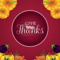 fond créatif avec illustration vectorielle de carte de voeux joyeux thanksgiving célébration vecteur
