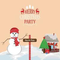 joyeux noël fond de fête avec des boules de neige vecteur