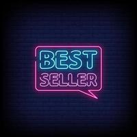 vecteur de texte de style enseignes au néon best seller