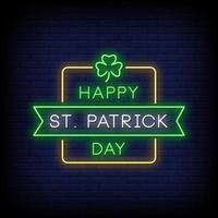 heureux st. patrick day néon signe vecteur de texte de style