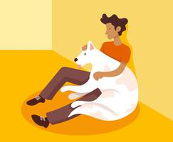 Garçon et son chien illustration