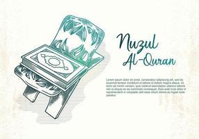 carte de voeux nuzul al-qur'an vecteur