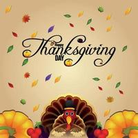 fond d'invitation de Thanksgiving Day avec citrouille créative vecteur