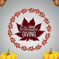 concept de design plat pour joyeux jour de Thanksgiving avec illustration vectorielle créative vecteur