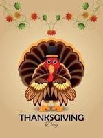 modèle de conception invitation joyeux thanksgiving avec oiseau de dinde vecteur