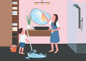 nettoyage de printemps en illustration vectorielle de salle de bain couleur plat vecteur