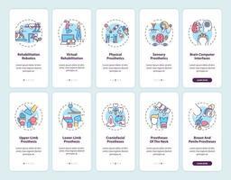 Écran de page de l'application mobile d'intégration de rééducation prothétique avec ensemble de concepts vecteur