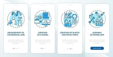 Écran de la page de l'application mobile d'intégration de la fabrication de prothèses avec des concepts vecteur