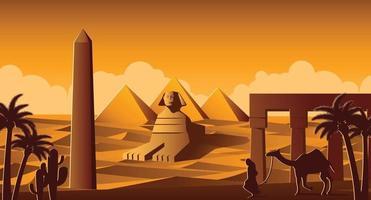 sphinx et pyramidm monuments célèbres de l'egypte vecteur