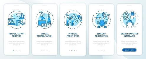 Écran de la page de l'application mobile d'intégration de la robotique de rééducation avec des concepts vecteur