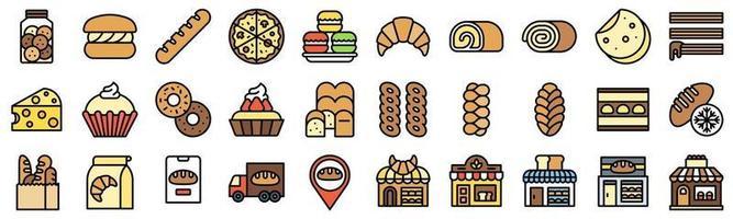 boulangerie et pâtisserie ensemble d'icônes rempli 5 vecteur