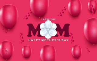 Carte de voeux bonne fête des mères confettis de ballons à air rose et fleur blanche au centre vecteur