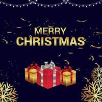 illustration vectorielle créative du modèle de carte de joyeux Noël avec des cadeaux vecteur