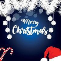 illustration vectorielle de célébration de Noël sur fond créatif avec des boules de neige et des cadeaux vecteur