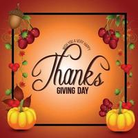 fond de jour de Thanksgiving avec citrouille de vecteur et feuille d'automne