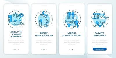 Tâches de prothèses des membres inférieurs intégration de l'écran de la page de l'application mobile avec des concepts vecteur