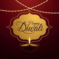 joyeux festival de diwali de la carte de voeux de célébration de la lumière vecteur