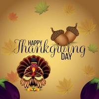Carte de voeux joyeux thanksgiving avec illustration vectorielle d'oiseau de dinde vecteur