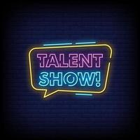 talent show vecteur de texte de style enseignes au néon