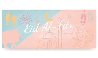 eid al fitr mubarak, peint à la main dans des couleurs pastel. style de griffonnage. affiche horizontale, carte de voeux, en-tête pour site Web vecteur