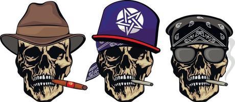 signe gothique avec crâne au chapeau, t-shirts design vintage grunge vecteur