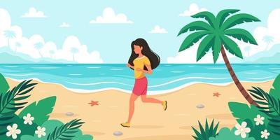 temps libre sur la plage. femme jogging. heure d'été. illustration vectorielle vecteur