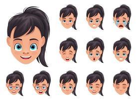 petite fille visage expressions vector illustration de conception isolé sur fond blanc