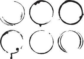 collection de 6 cercle grunge vecteur