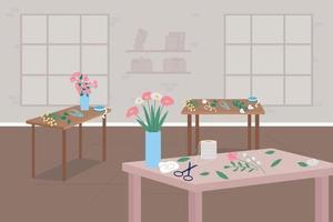illustration vectorielle de fleuriste master class plat couleur vecteur