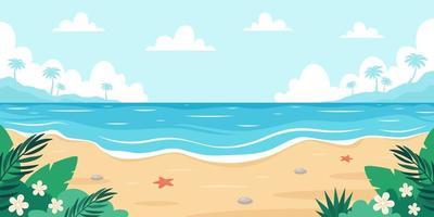 paysage de plage. bord de mer avec étoile de mer, palmiers, galets de mer et plantes tropicales. illustration vectorielle vecteur