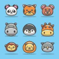 collection d'icônes d'animaux mignons vecteur