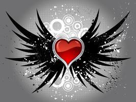 coeur brillant sur les ailes de grunge