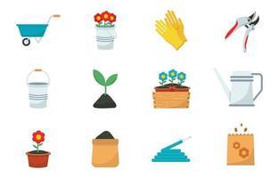 jeu d'icônes de jardinage écologique vecteur