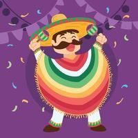 heureux, mexicain, dessin animé, cinco de mayo vecteur