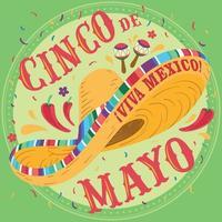 affiche de cinco de mayo avec chapeau mexicain traditionnel vecteur