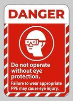 le signe de danger ne fonctionne pas sans protection oculaire le non-port d'un équipement approprié peut provoquer des blessures vecteur