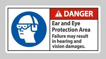 signe de danger une défaillance de la zone de protection des oreilles et des yeux peut entraîner des dommages auditifs et visuels vecteur