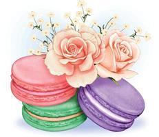 mignons macarons pastels aquarellés avec bouquet de roses roses vecteur