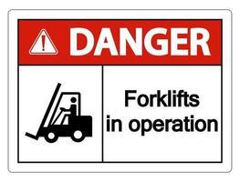 Chariots élévateurs de danger en opération signe sur fond blanc vecteur
