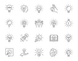 jeu d'icônes linéaire simple symbolisant des idées avec des ampoules vecteur
