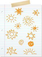 Doodles soleil dessinés à la main sur papier ligné vecteur