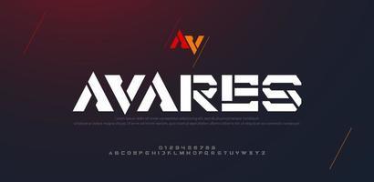 police de l'alphabet urbain moderne abstrait. typographie sport, jeu, technologie, mode, numérique, future police de logo créatif vecteur