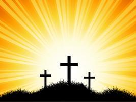 Croix sur ciel coucher de soleil vecteur