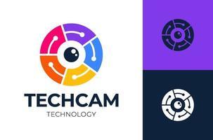 tecnology camera logo.circle lines camera avec tech connect logo vector symbole icône illustration design
