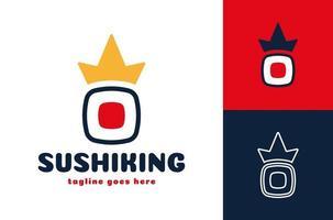 logo de sushi couronne. symbole de restaurant de fruits de mer japonais de vecteur de sushi royal frais ou rouleau avec couronne de roi