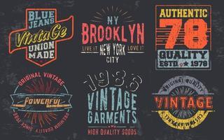 impression de design vintage pour timbre de t-shirt, applique de tee-shirt, typographie de mode, badge, vêtements d'étiquette, jeans et vêtements décontractés illustration vectorielle vecteur