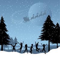 Enfants jouant avec le père Noël dans le ciel
