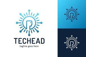 logo de technologie de tête, vecteur de concept de logo tête de pixel, modèle de logo de technologie robotique conçoit illustration vectorielle