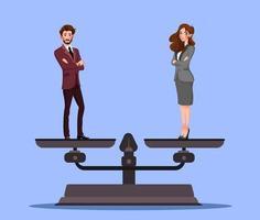 égalité des sexes avec homme d'affaires et femme d'affaires sur des échelles. concept de vecteur d & # 39; affaires égalité de rémunération et d illustration de l'égalité des droits des hommes et des femmes